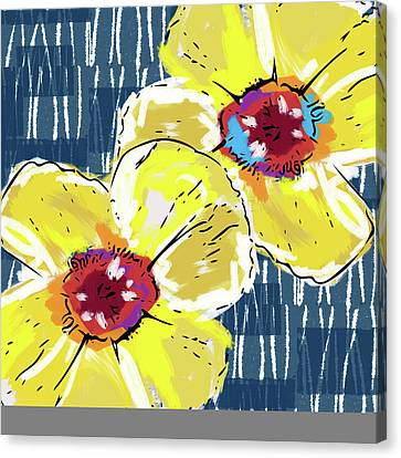 Canvas Print featuring the mixed media Yellow Poppies 2- Art By Linda Woods by Linda Woods