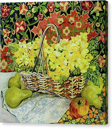 Yellow Primroses In A Basket,with Fruit And Textiles Canvas Print