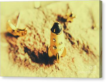 Yellow Rocket On Planetoid Exploration Canvas Print by Jorgo Photography - Wall Art Gallery