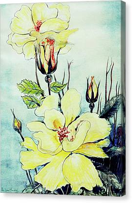 Yellow Rose In A Suffolk Breeze Canvas Print by Joan Thewsey