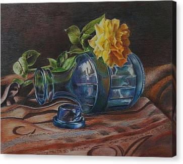 Yellow Rose On Blue Canvas Print by Mary Jo Jung