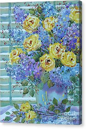 Yellow Roses And Lilacs Canvas Print