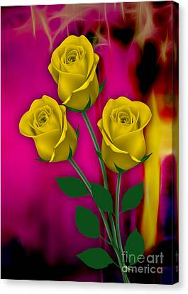 Yellow Roses Collection Canvas Print by Marvin Blaine