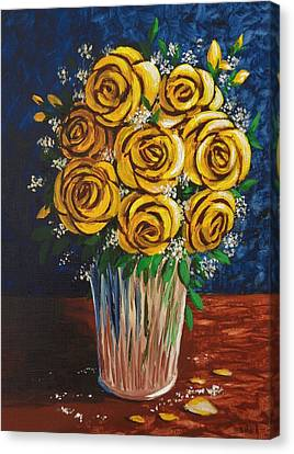 Canvas Print featuring the painting Yellow Roses by Katherine Young-Beck