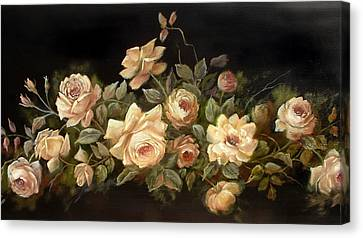 Yellow Roses On Black  Canvas Print