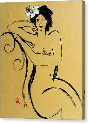 Yellow Seated Nude With White Flower And Bird Canvas Print