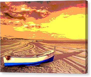 Sun Rays Canvas Print - Yellow Sky Boat by Charles Shoup