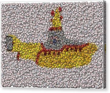 Yellow Submarine Bottle Cap Mosaic Canvas Print by Paul Van Scott