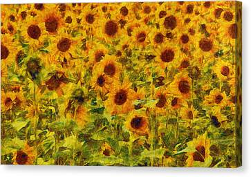 Yellow Sunflowers Field Art Painting Canvas Print by Wall Art Prints