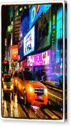 Penn Avenue Canvas Print - Yellow Taxi Cabs  by Lanjee Chee