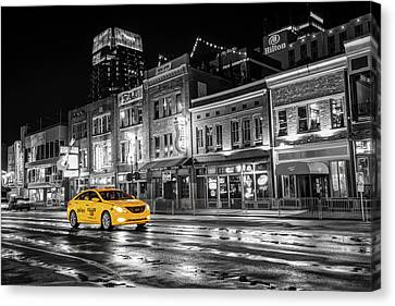 Canvas Print featuring the photograph Yellow Taxi Cab On Lower Broadway - Nashville Tennessee by Gregory Ballos