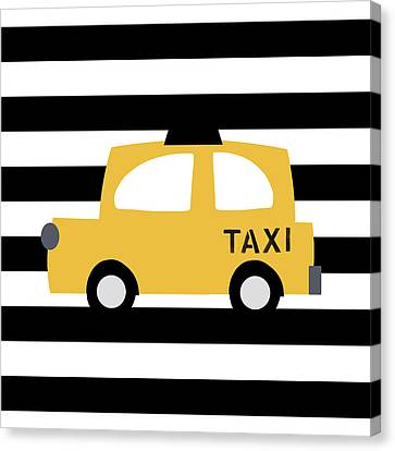 Juvenile Art Canvas Print - Yellow Taxi With Stripes- Art By Linda Woods by Linda Woods