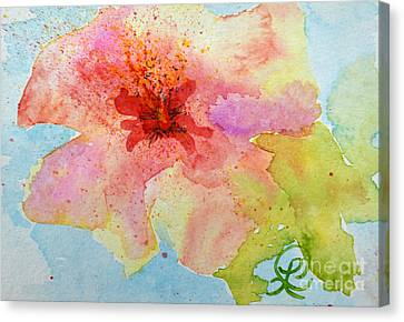 Yellow Tinged Hibiscus Canvas Print