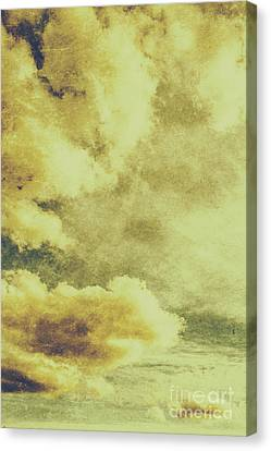 Yellow Toned Textured Grungy Cloudscape Canvas Print