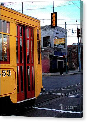 Yellow Trolley At Earnestine And Hazels Canvas Print