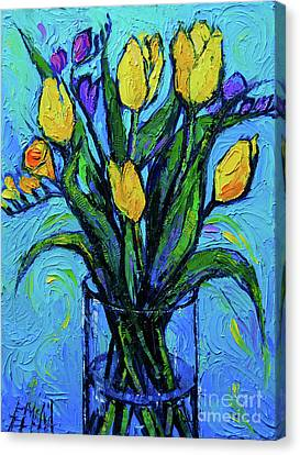 Yellow Tulips And Freesia Canvas Print