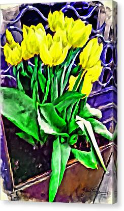 Canvas Print featuring the painting Yellow Tulips by Joan Reese