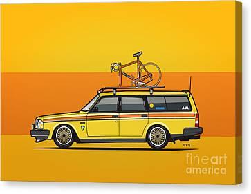 Yellow Volvo 245 Wagon With Roof Rack And Vintage Bicycle Canvas Print