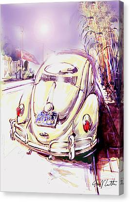 Vw Beetle On The Street Canvas Print by Geoff Latter