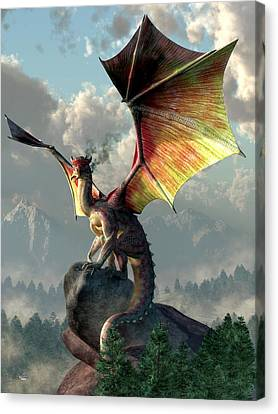 Yellow Winged Dragon Canvas Print