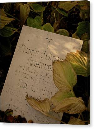 Rest In Peace Canvas Print - Yellowed Pages by Odd Jeppesen