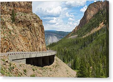 Canvas Print featuring the photograph Yellowstone Drive by John M Bailey