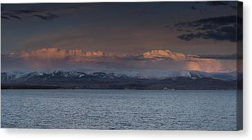 Yellowstone Lake At Sunset Canvas Print