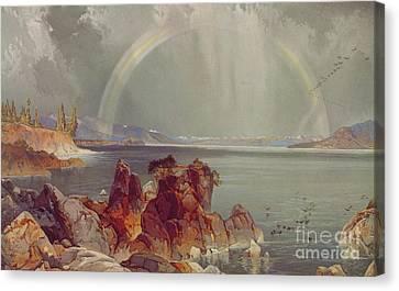 Yellowstone Lake Canvas Print by Louis Prang