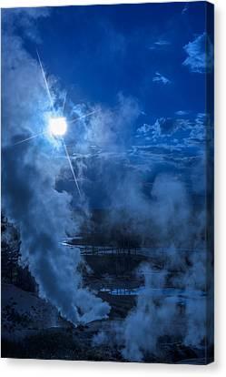 Yellowstone Norris Basin Geyser Canvas Print by Steve Gadomski