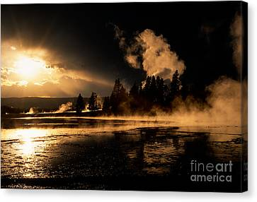 Yellowstone River Sunrise Canvas Print by Sandra Bronstein