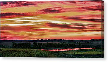 Yellowstone River Wildfire Sunset Canvas Print