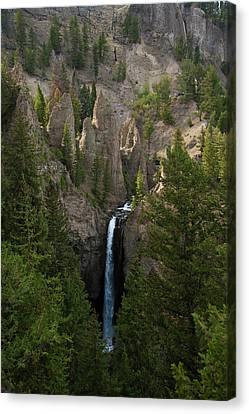 Canvas Print featuring the photograph Yellowstone Waterfall by Roger Mullenhour