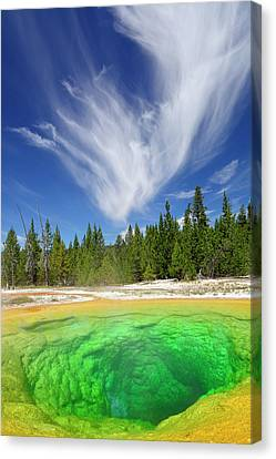 Canvas Print featuring the photograph Yellowstone's Morning Glory Pool Pool And Awesome Clouds by Bruce Gourley