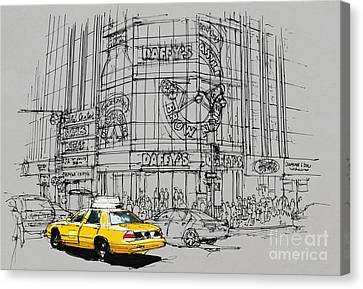 Yelow Cab On New York Streets Canvas Print by Pablo Franchi