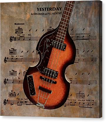 Yesterday - Paul Mccartney Hofner Bass Canvas Print