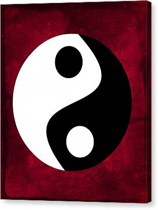 Yin And Yang - Dark Red Canvas Print by Marianna Mills