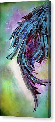 Yin - Dark Feathers Abstract Painting Canvas Print by Soos Roxana Gabriela