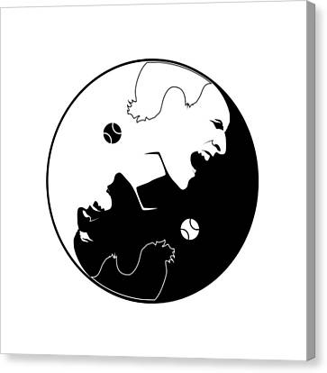 Yin Yang 2016 Number 1 Tennis Player Canvas Print by Carlos Vieira