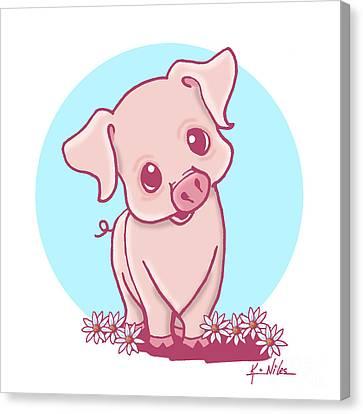 Yittle Piggy Canvas Print by Kim Niles