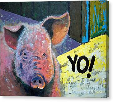 Yo Pig Canvas Print by Suzanne McKee