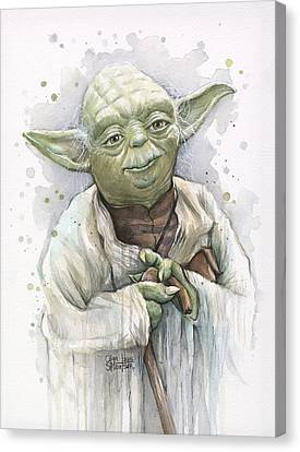 Geek Canvas Print - Yoda by Olga Shvartsur