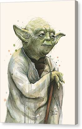 Yoda Portrait Canvas Print by Olga Shvartsur