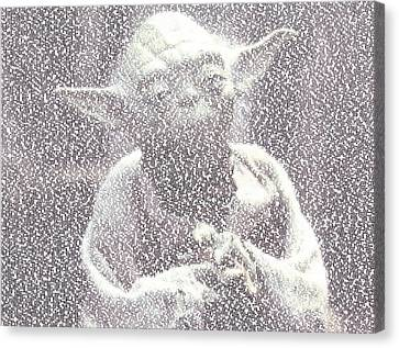 Mosaic Canvas Print - Yoda Quotes Mosaic by Paul Van Scott