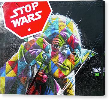 Canvas Print featuring the photograph Yoda - Stop Wars by Juergen Weiss