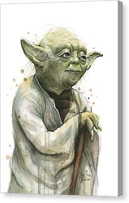 Yoda Watercolor Canvas Print by Olga Shvartsur