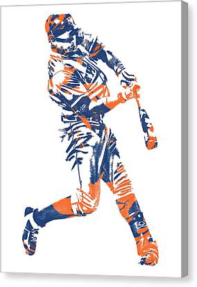 New York Mets Stadium Canvas Print - Yoenis Cespedes New York Mets Pixel Art 1 by Joe Hamilton