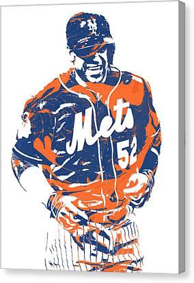 New York Mets Stadium Canvas Print - Yoenis Cespedes New York Mets Pixel Art 3 by Joe Hamilton