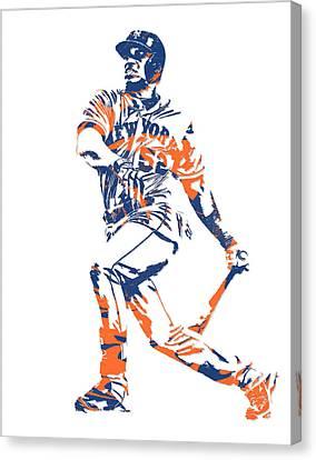 New York Mets Stadium Canvas Print - Yoenis Cespedes New York Mets Pixel Art 4 by Joe Hamilton