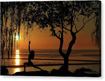 Canvas Print - Yoga By The Bay At Sunset by Andrea Kollo