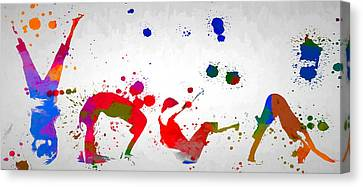 Workings Canvas Print - Yoga Pose Paint Splatter by Dan Sproul